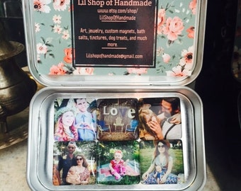 Custom Photo Magnets- Set of 6 in a metal tin. Perfect for gifting!