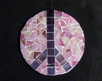 Glass Tile Mosaic Peace Sign Pink/Purple
