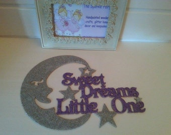 glittered mdf wooden quote sweet dreams little one