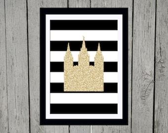 LDS Temple 5 x 7 Print black, white, gold glitter
