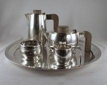 Art Deco silver plate coffee & tea set Elkington Co and Mappin Webb tray British circa 1930  FREE SHIPPING