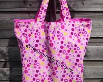 handmade large pink circle tote bag fully lined
