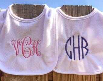 Monogrammed Baby Bib / Baby Girl Bib / Baby Boy Bib / Personalized Bib/ Baby Gift