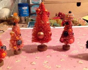 Set of 5 Fall or Halloween bottlebrush trees