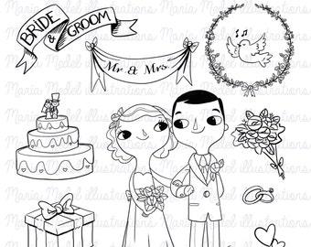 Descarga inmediata - boda digital arte sellos juego