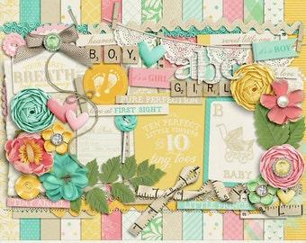 Baby Mine Digital Scrapbook Kit - INSTANT DOWNLOAD