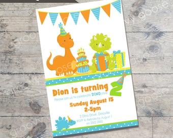 Dinosaur Party kids party invitation DIY Printable Dinosaur theme party printable invitations Personalised invitation