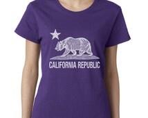 California Republic Tshirt Cali Life West Coast Tee California Flag Bear Republic Ladies Tshirt