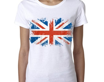 UK Flag British United Kingdom Union Jack Ladies Tshirt