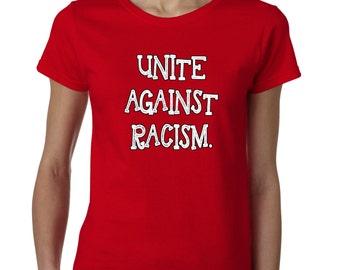 United Against Racism Tshirt Solidarity Tshirt World Peace Ladies T shirt