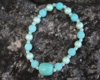 Tropical Turquoise Bracelet, Turquoise Beaded Bracelet, Turquoise Bracelet, Beaded Bracelet