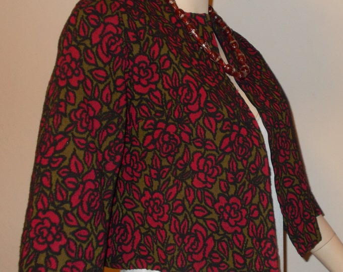 Vintage 90s Goth Black Green Red Rose Floral Flower Womens Short Bolero Coat Evening Cover-up Wrap Jacket