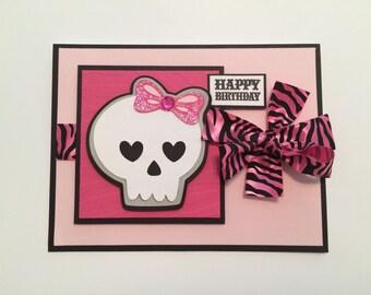Girl Skull Birthday Card