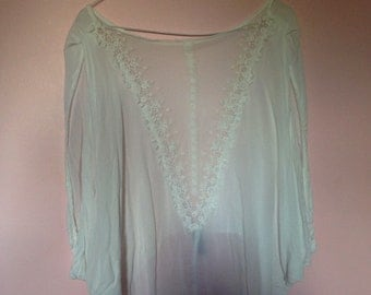 White blouse mesh back with crochet detail