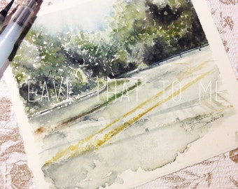 """7.5""""x7"""" Original Watercolor Landscape Painting"""