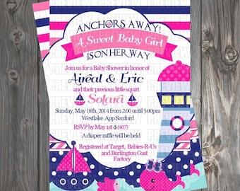Girl Nautical Baby Shower Invitation