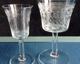 19th C Victorian Pall Mall Etched & Cut Glasses