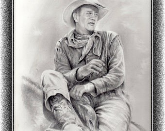 Hondo - John Wayne, Drawing, pencil, Illustration, Print, Gicklee, Graphite,
