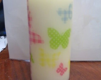 squares pattern butterfly candle