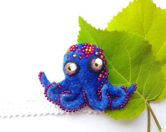 """Felted brooch """"Octopus"""""""