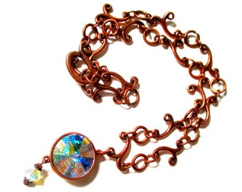 GORGEOUS Choker With HUGE Swarovski AB Crystal Pendant Connected By Swirly, Curvy, Shiny Copper Links