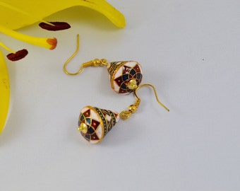 Enamelled Brass Cone Gold Earrings