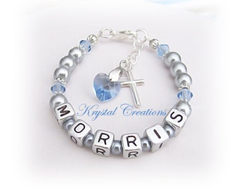 BOYS Christening Baptism Name bracelet Customized with your name LIGHT SAPPHIRE