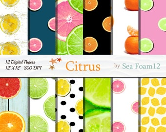 Citrus Digital Paper Pack, 12x12 Instant Download for Cards, Invitations, Scrapbooking,  Background , Wedding