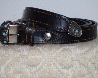 Female black leather belt with vintage silver buckle, hand-stitched leather belt, women's belt, strap