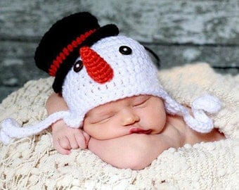 CHRISTMAS snowman knit hat baby boy girl braided ADORABLE must have winter snow carrot nose buttons newborn baby
