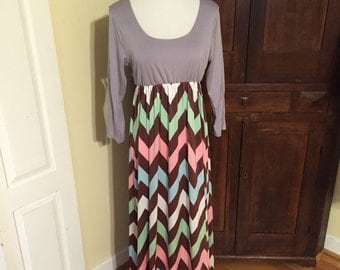 Casual Sleeved Full Length Chevron Maxi Dress