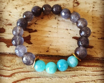 Turquoise and Grey Beaded Stretch Bracelet, Turquoise Beaded Bracelet, Grey Agate Beaded Bracelet, Agate Beaded Bracelet, Beaded Bracelet