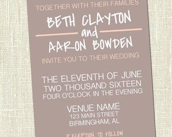Simple Casual Wedding - Printable Invitation