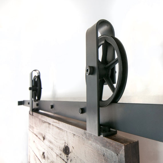 Vintage industrial top mount spoked sliding barn door hardware