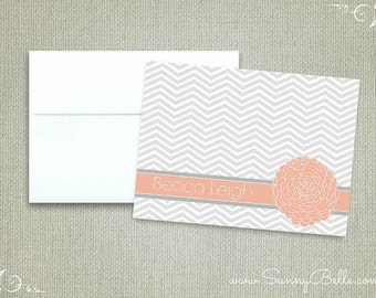 10 Personalized floral notecards, Dalia, thank you notes, folded, blank, stationery, letterhead