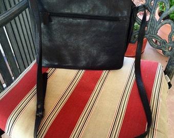 Multi-Pocket, Black Leather Shoulder Bag