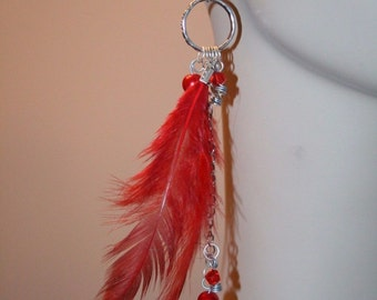 Ladies Hot Red Beaded Dangle Feather Bohemain Boho Earrings Fashion Jewelry
