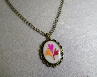 Resin Necklace with Pressed Cornflower Pendant