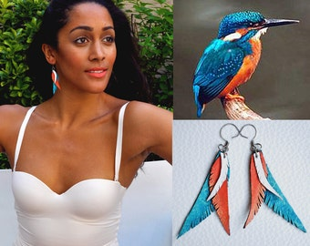 KingFisher, Leather Feather Earring