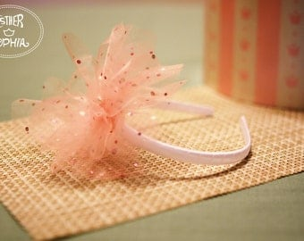 headband / Flower headband / Foil dot headband / Organza flower headband /peach headband / Headband for girls