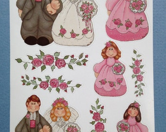 Darling Bride and Groom, flower girls, bridesmaids, flower sprays and bouquets, stickers for wedding scrapbook, celebration or event