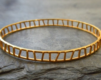 Open Track Bangle / Genuine 24k Gold Over Sterling Silver / Modern / Wear With Other Bangles to Stack and Layer Look / Everyday Bangle