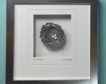 Our Nest, Bird's Nest in Pewter, Framed