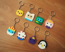Adventure Time Keyrings - Hama perler beads. Free UK Delivery!