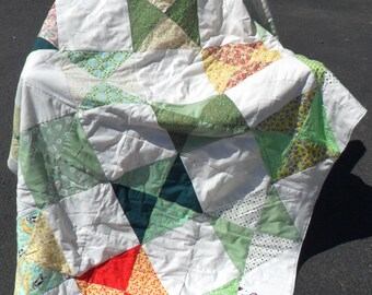Green and Yellow Pinwheel Quilt