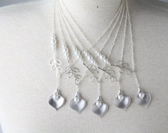 Bridesmaid necklace, set of five bridesmaid necklaces, silver calla and white pearl necklace, white wedding jewelry, delicate necklace, gift