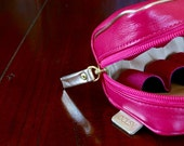Real Leather Essential Oil Carrying Case. Magenta. Cosmetic bag. Leather purse. Gift. Accessory bag.
