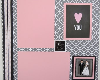 "Love to Last Forever 12x12"" Premade Wedding Scrapbook Page"