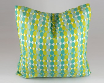 Geometric Green Pillow cover, Green and Gray Throw Pillow Cover, Decorative Throw Pillow Cover, Pillow Covers, Green, White, Geometric