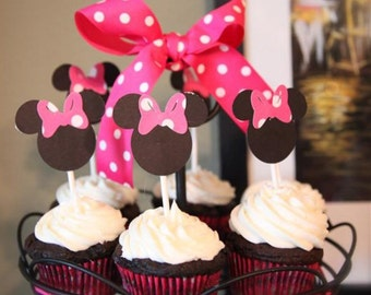 24 Minnie Mouse toothpicks. Great for Baby showers, Birthday Parties and more